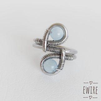 akvamarin gyűrű acél drótékszer 1