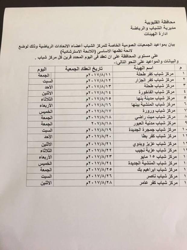 مواعيد الجمعيات العمومية للاندية ومراكز الشباب فى محافظة القليوبية 2