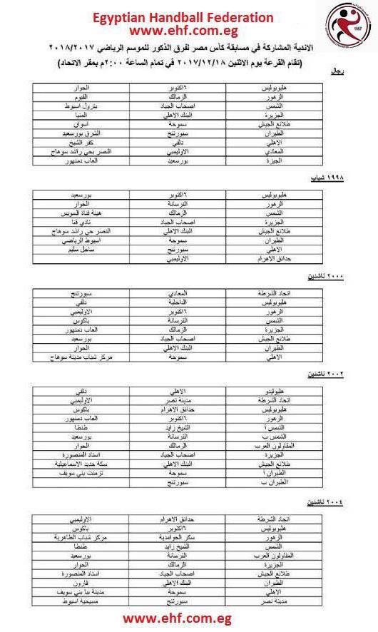 الاندية المشاركة فى بطولة كاس مصر لكرة اليد 2017-2018