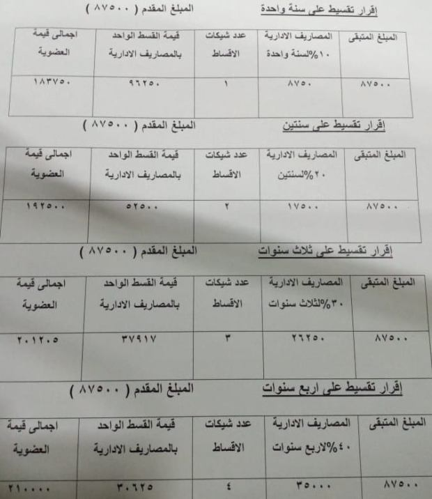 اشتراك نادي الاهلي فرع الشيخ زايد