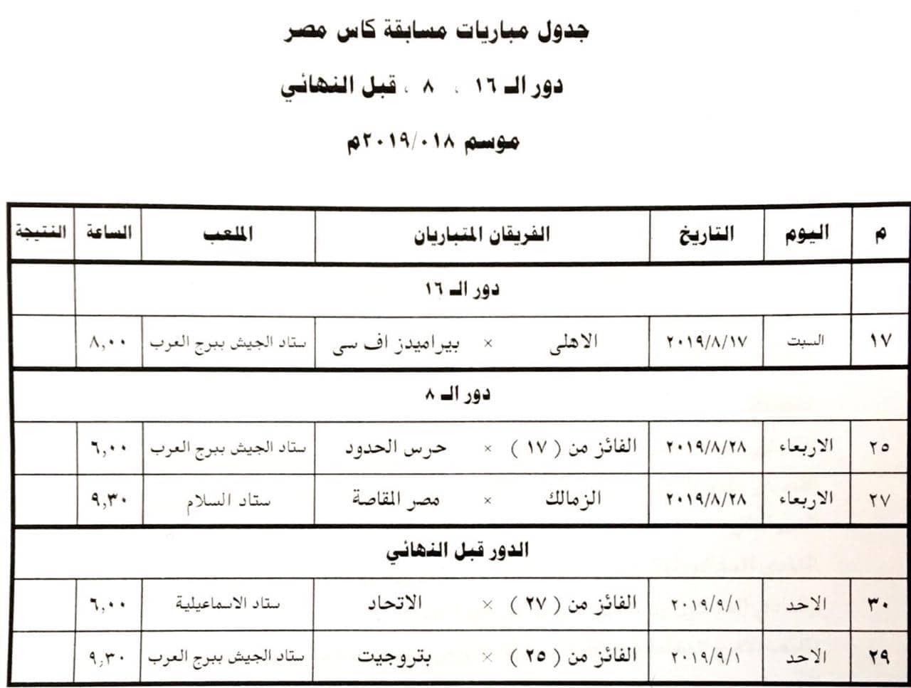 مواعيد مباريات الاهلي والزمالك القادمة في كأس مصر
