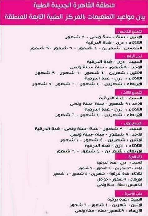 جدول تطعيمات الاطفال في مكاتب الصحة بالقاهرة الجديدة