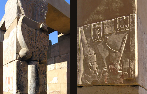 Hathor column and a relief in the Temple of Satet