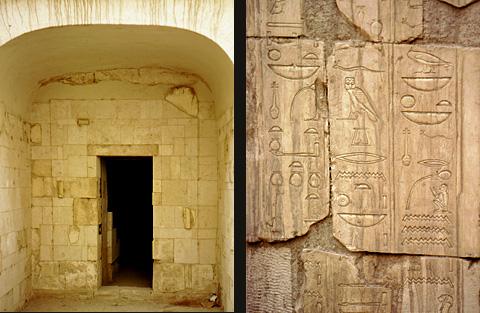 Tomb entrance and hieroglyphs