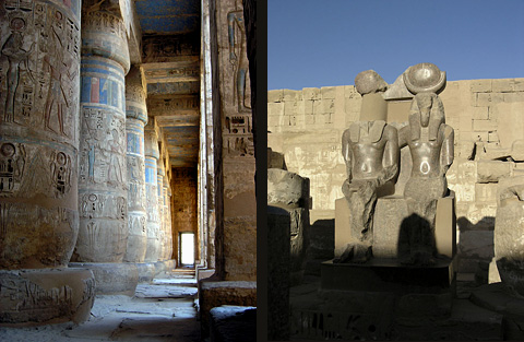 Columns in the Second Court and Statues in the hypostyle Hall