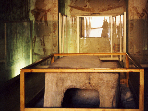 Sarcohagus of Rameses VII in the burial chamber