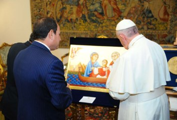 President El-Sisi delivers a gift to the pope of the Vatican, pope Francis, consisting of a picture showing the sacred family's journey in Egypt.