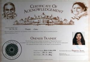 Certificate Oneness Trainer Csiki Tünde