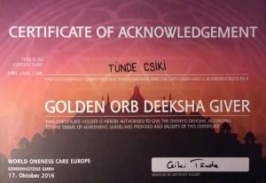 Certificate Golden Orb Deeksha Giver