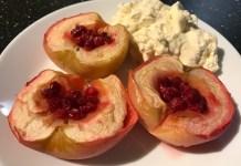 Печеные яблоки с брусникой _