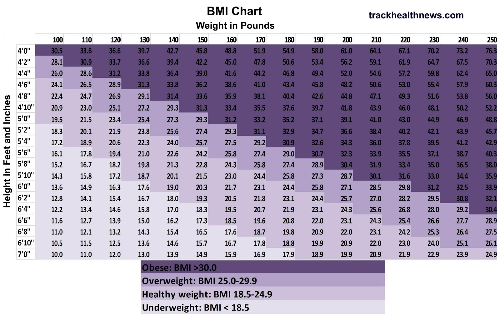 Body Mass Index (Bmi) Chart