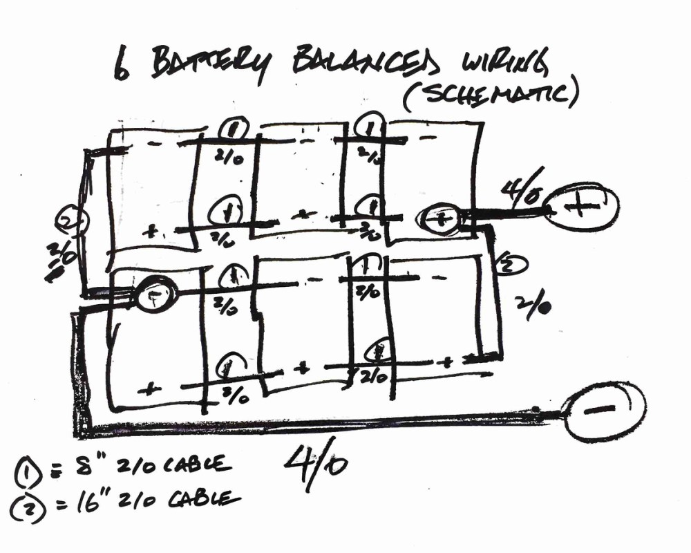 medium resolution of your balanced battery wiring was very helpful but i struggled to find a schematic showing how to wire 6 batteries in a balanced fashion