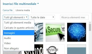 inserire media su wordpress