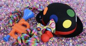 hat, confetti, streamer