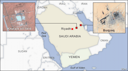 Map of Khurais oil field and Buqyaq, Saudi Arabia