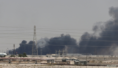 Smoke is seen following a fire at Aramco facility in the eastern city of Abqaiq, Saudi Arabia, Sept. 14, 2019.