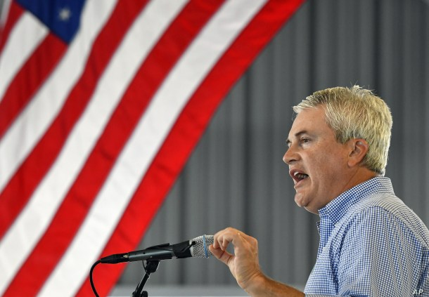 Rep. James Comer, R-Ky., speaks to the audience gathered at the 138th annual Fancy Farm Picnic, Saturday, Aug. 4, 2018, in Fancy Farm, Ky. (AP Photo/Timothy D. Easley)
