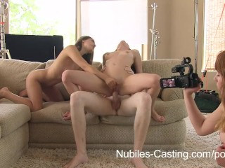 Nubiles Casting – An unexpected threesome for porn tryout