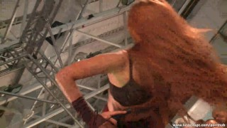 Amazing babe dances in front tof the crowd