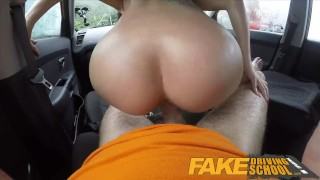 Fake Driving School - Black haired Euro babe fucking Glasses Fucked porno fucked Car