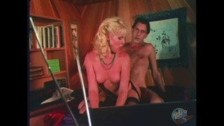 Sexy blonde fucks older man