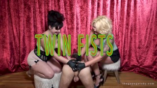 Two Fists: Two women double fist a guys asshole and make him gape