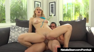 Blonde Star Natalia Starr Drenched With H20 Blaster & A Cock