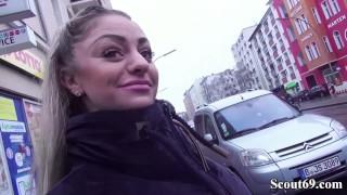 GERMAN SCOUT - Dana Jayn mit MEGA Titten in Berlin bei Casting gefickt