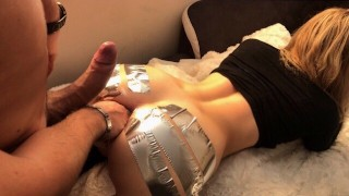 ANAL GAPE CHALLENGE ` Schoolgirl loves to be Streched w/ Duct Tape