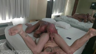Jack Dyer Breeds Jay Austin with his pierced dick at cheap motel