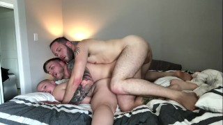 His FIRST Bisexual Daisy Chain: Fucking while getting fucked w Riley Nixon