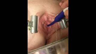 Female Urethral Play. Spread & Clamped Pussy Pissing Through a Hollow Sound