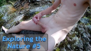 Exploring the Nature #5 - Massive cumshot outside in the sun. Cum all over!