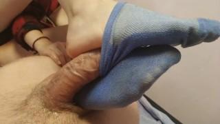 footjob/sockjob from a sexy college girl / cum inside sock