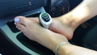 Car footjob