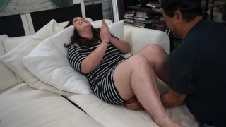 Newly single BBW lets friend face fuck her pussy