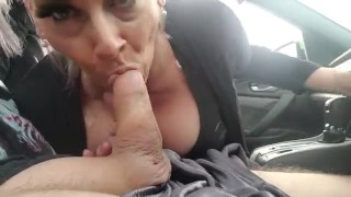 MATURE THICK PAWG MILF GILF STRANDED SUCKS COCK SHOW AND SWALLOW FOR A RIDE
