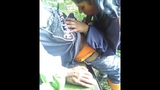 blowjob on public park trail - monster black cock sucked by tiny indian