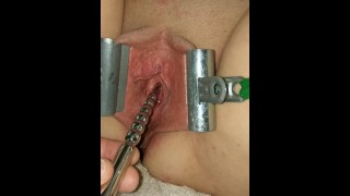 Female Urethral Sounding Orgasm Stretched & Clamped Pussy S&M Medical Play