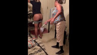 angie spanks girl for wearing sweat shorts to school