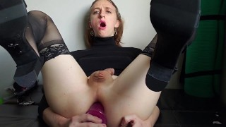 Nasty Trans Slut Slobbers on a dildo and eats her cum