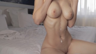 Busty woman strips and fucks until her hot body covered in cum
