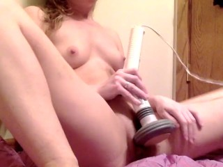 Teen has massive orgasm with powerful vibrator massager