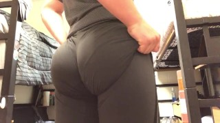 18 y/o twink tries on tight yoga pants and his bubble butt still jiggles..