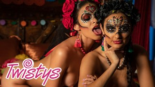 Twistys - Mexican Day of the dead lesbian sissoring - Molly Stewart, Bella
