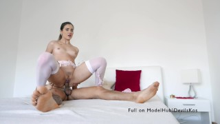 Gorgeous Mary Rock passionately fucks in beautiful lingerie.