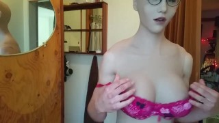 miss eva mae full body transformation silicone suit mask play with vibrator