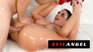 EvilAngel - Angela White Fills Her Ass With Oil & Dick
