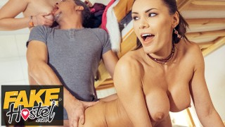 Fake Hostel Happy threesome with super sexy dancing babes