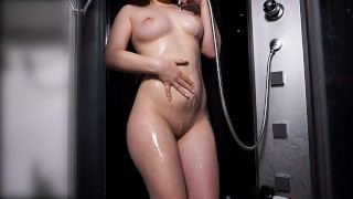 TEEN WITH PERFECT BODY TAKES SHOWER AFTER HOT SEX